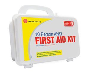 10 Person ANSI/OSHA First Aid Kit, Plastic Case W/Eyewash