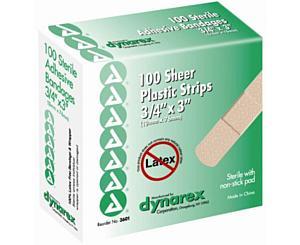 "Adhesive Sheer Plastic Bandages 3/4"" x 3"" , Box/100"