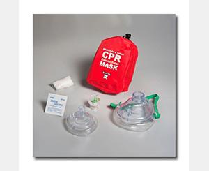 CPR Pocket Mask Resuscitator Adult/Child & Infant Soft Case W/ One Way Valve - RED