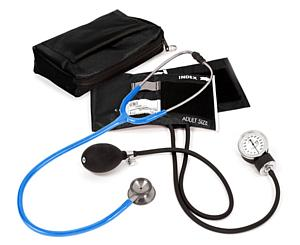 Aneroid Sphygmomanometer / Clinical I Stethoscope Kit, Adult, Neon Blue, Print