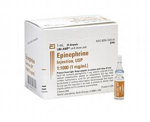 Epinephrine Injection, USP 1:1000 (1 mg/ml) 1 ml Ampoule , Box/10