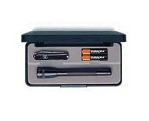 BLACK AA MINI MAGLITE W/BATTERIES & CLASSIC KNIFE, PRES BX