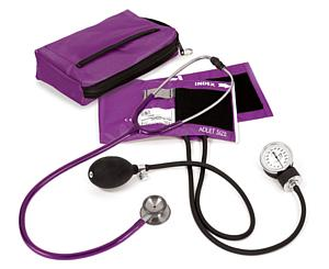 Aneroid Sphygmomanometer / Clinical I Stethoscope Kit, Adult, Purple, Print