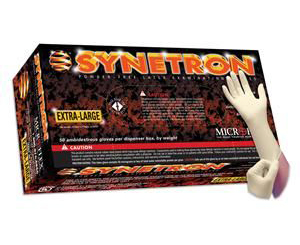 Synetron Extended Cuff Powder Free Latex Gloves - Large , Box/50