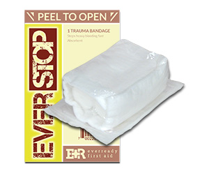 "EverStop Hemostatic Blood Stopper Sterile Trauma Bandage, 4"""