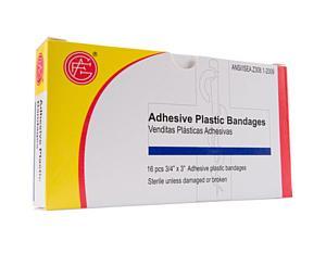 "Adhesive Plastic Bandages, 16pcs, 3/4"" x 3"""