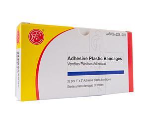 "Adhesive Plastic Bandages, 32pcs, 1"" x 3"""