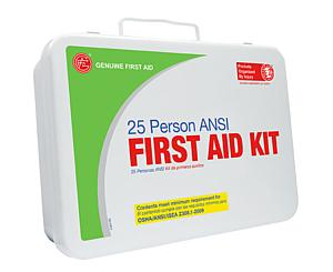 25 Person ANSI/OSHA First Aid Kit, Weather Proof Metal Case