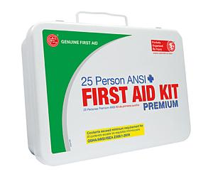 25 Person ANSI/OSHA First Aid Kit, Weather Proof Metal Case PREMIUM