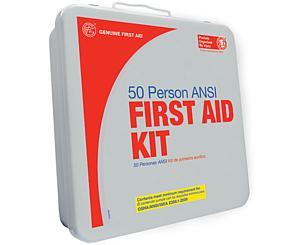 50 Person ANSI/OSHA First Aid Kit, Weather Proof Plastic Case W/Eyewash