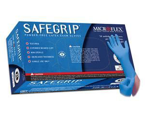 SafeGrip Powder Free Latex Exam Gloves - Large , Box/50
