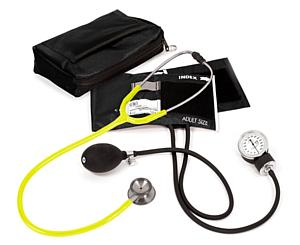 Aneroid Sphygmomanometer / Clinical I Stethoscope Kit, Adult, Neon Yellow, Print