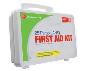 25 Person ANSI/OSHA First Aid Kit, Weather Proof Plastic Case W/Eyewash