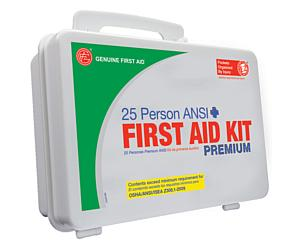 25 Person ANSI/OSHA First Aid Kit, Weather Proof Plastic Case PREMIUM
