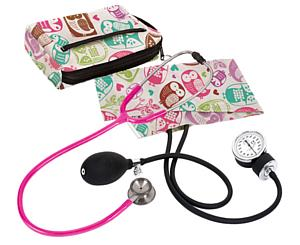 Aneroid Sphygmomanometer / Clinical I Stethoscope Kit, Adult, Owls Cream, Print