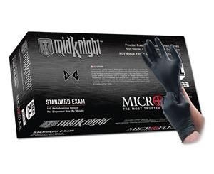 Midknight Black Powder Free Nitrile Gloves - Medium , Box/100