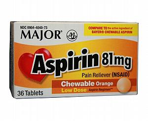 Aspirin Children's Chewable Tablets 81 mg (1.25 gr) , Bottle of 36