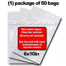 Weston Zipper Seal Vacuum Bags - Pint 6 x 10 (50 ct.) 30-0206