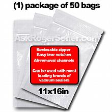 Weston Zipper Seal Vacuum Bags - Pint 11 x 16 (50 ct.) 30-0211-W