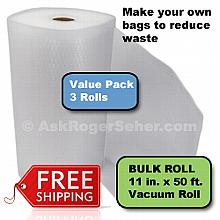 Value Pack of (3) Rolls of 11 in. x50 ft. Vacuum Sealer Bagging  ** FREE Shipping **