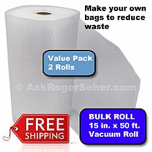 Value Pack of 2 Rolls of 15 in. x50 ft. Vacuum Sealer Bagging w/ Mesh Liner ** FREE Shipping **