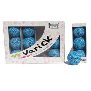 Box of one dozen Blue on White Varick Golf balls