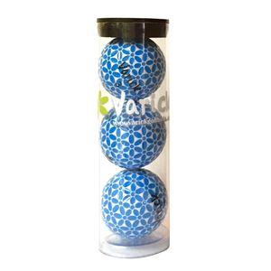 Tube of three Blue on White Varick Golf balls