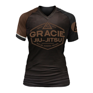 Brown Rank Gracie Short-Sleeve Rashguards (Women)