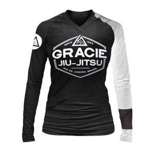 Gracie White Rank Long-Sleeve Rashguard (Women)