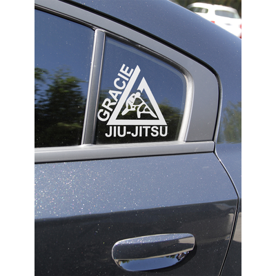 "(6x6.5"") Small White Triangle Thermal Dye Cut Sticker"