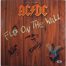 ACDC Fly on the Wall Signed Record Album LP Certified Authentic Beckett BAS COA