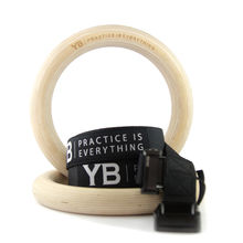Wooden Gymnastic Rings x2 [YOGABODY Official] Ultra-Smooth Birch w/Adjustable Long Straps & Rock-Solid Clips for Muscle Ups, Pull Ups, Yoga & CrossFit Training