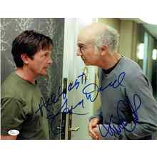 Curb Your Enthusiasm Cast Michael J Fox and Larry David Signed 11x14 Photo Certified Authentic JSA COA