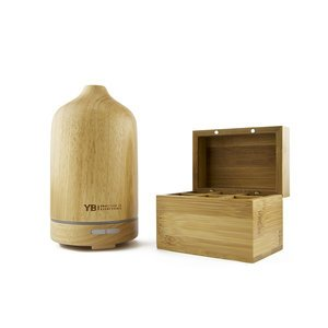 Natural Wood, Essential Oil Diffuser & Humidifier for Aromatherapy, 3-6 Hrs Mist, Auto-Off + Light (Oils NOT Included)
