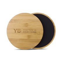 Abdominal Exercise Sliders by YOGABODY® | Beautiful Bamboo Wood | Use for Workouts on Hardwood Floors, Tiles or Carpet | Core Strength Trainers | FREE online Pose Chart