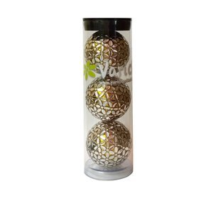 Three Silver Gold golf balls in a tube