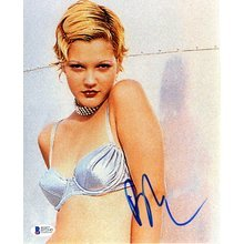 Drew Barrymore Sexy Bra Signed 8x10 Photo Certified Authentic Beckett BAS COA