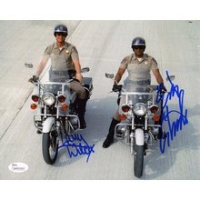 CHiPs Cast Wilcox and Estrada Signed 8x10 Photo Certified Authentic JSA COA