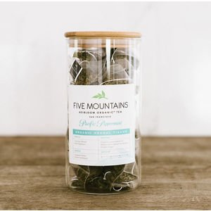 "Tea Sachet Storage with Custom Five Mountains Label - Glass/Wood Lid (8""x4"")"