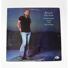 Willie Nelson 'Somewhere Over Rainbow' Signed Record Album LP Certified Authentic BAS COA