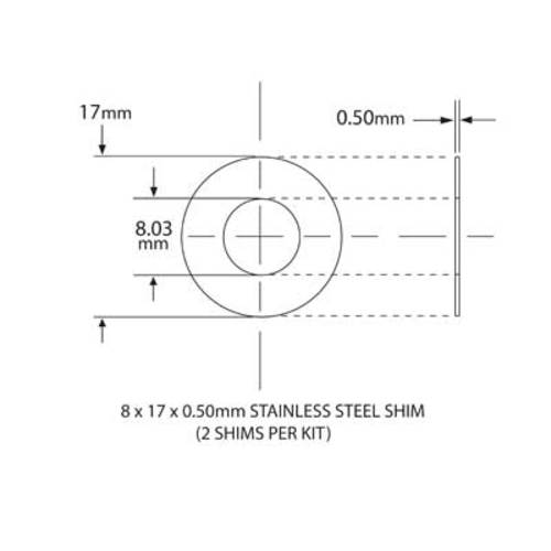 SHIM KIT FOR NEEDLE BEARING KIT 8mm ID x 17mm OD x 0.5mm