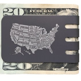 The VIPER™ money clip - USA MAP on NASA Optical Gray Finish
