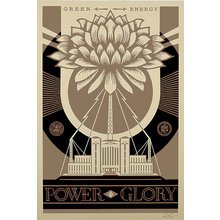 "Obey Giant ""Green Power-Gold"" Large Format Signed Screen Print"