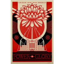 "Obey Giant ""Green Power-Red"" Large Format Signed Screen Print"