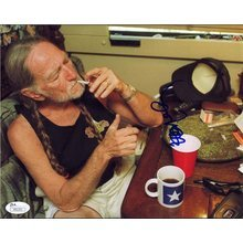 Willie Nelson 'Smoking Weed' Signed 8x10 Photo Certified Authentic JSA COA