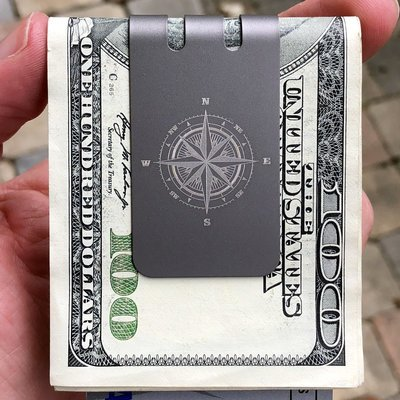 The mini-VIPER™ titanium money clip - COMPASS on NASA Optical Gray Finish