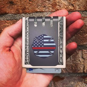 The VIPER™ titanium money clip - THIN RED LINE on NASA Gray Finish