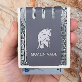 The VIPER™ titanium money clip - SPARTAN HELMET on NASA Optical Gray Finish
