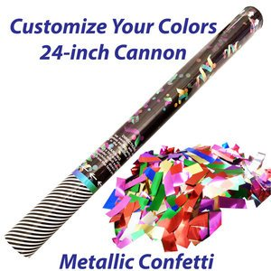 Large single-use confetti cannon filled with metallic confetti.