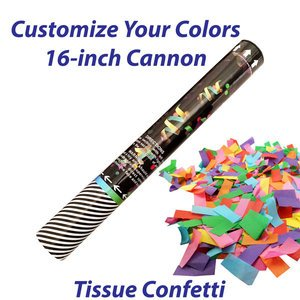Medium single-use confetti cannon filled with tissue confetti.